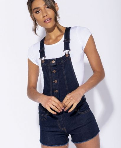 Button Front Frayed Hem Dungaree Shorts